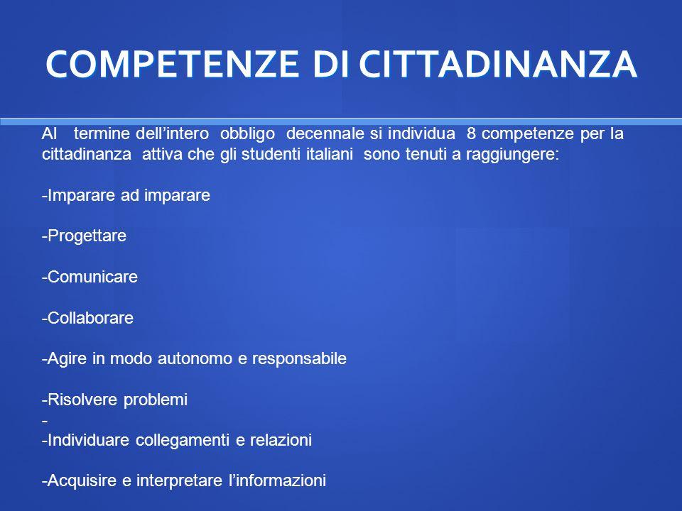 COMPETENZE DI CITTADINANZA Al termine dellintero obbligo decennale si individua 8 competenze per la cittadinanza attiva che gli studenti italiani sono