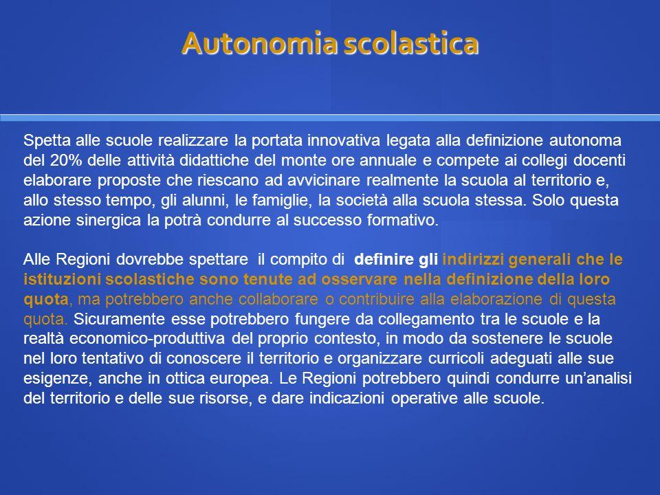 Autonomia scolastica Autonomia scolastica Spetta alle scuole realizzare la portata innovativa legata alla definizione autonoma del 20% delle attività