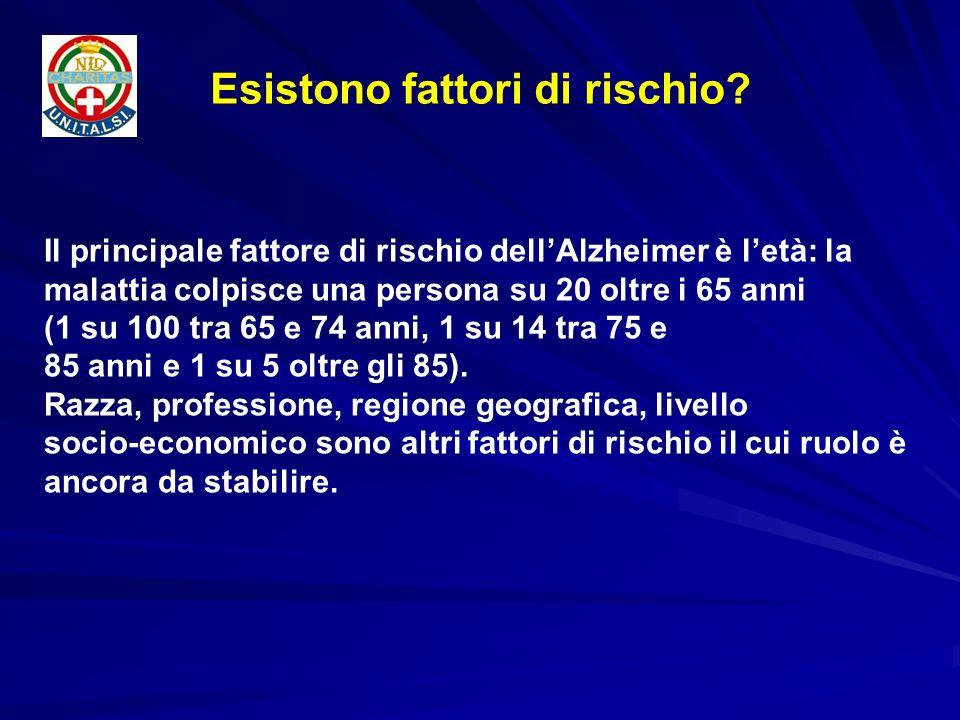 Il principale fattore di rischio dellAlzheimer è letà: la malattia colpisce una persona su 20 oltre i 65 anni (1 su 100 tra 65 e 74 anni, 1 su 14 tra
