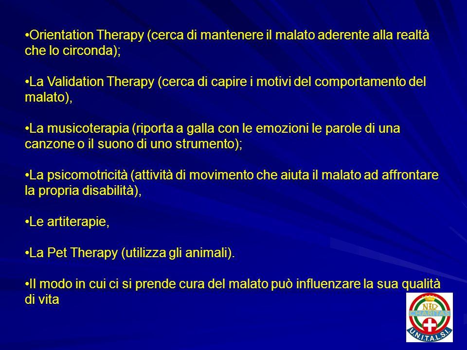 Orientation Therapy (cerca di mantenere il malato aderente alla realtà che lo circonda); La Validation Therapy (cerca di capire i motivi del comportam