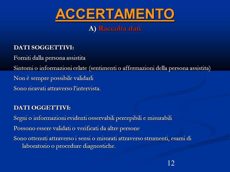 12ACCERTAMENTO A) Raccolta dati DATI SOGGETTIVI: Forniti dalla persona assistita Sintomi o informazioni celate (sentimenti o affermazioni della person