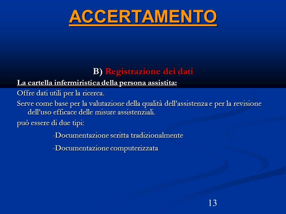 13 ACCERTAMENTO B) Registrazione dei dati La cartella infermiristica della persona assistita: Offre dati utili per la ricerca. Serve come base per la