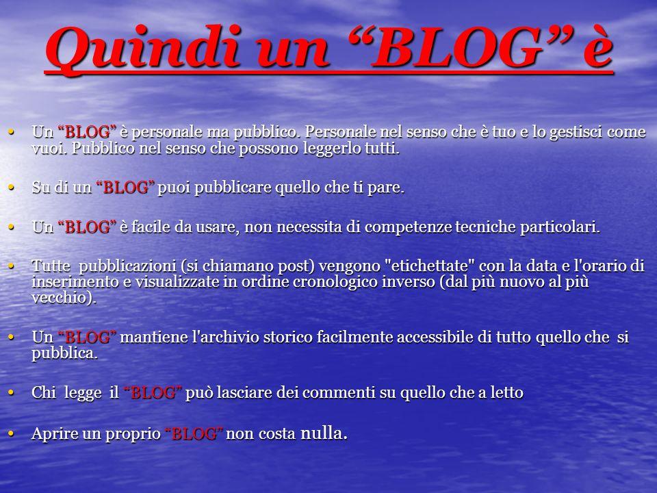 Quindi un BLOG è Un BLOG è personale ma pubblico. Personale nel senso che è tuo e lo gestisci come vuoi. Pubblico nel senso che possono leggerlo tutti
