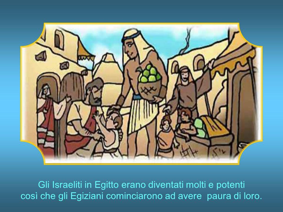 Gli Israeliti in Egitto erano diventati molti e potenti così che gli Egiziani cominciarono ad avere paura di loro.