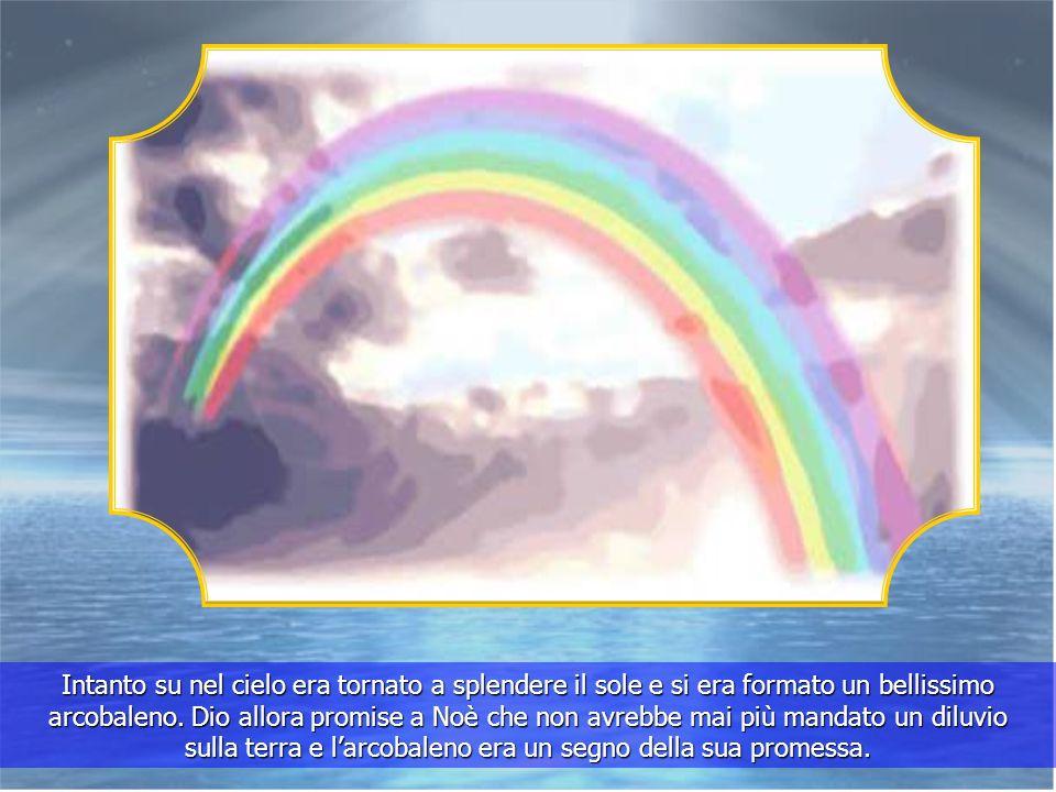 Quando la terra fu asciutta, Noè fece uscire tutti gli animali e la terra tornò aripopolarsi. Come ringraziamento Noè offrì dei sacrifici al Signore p