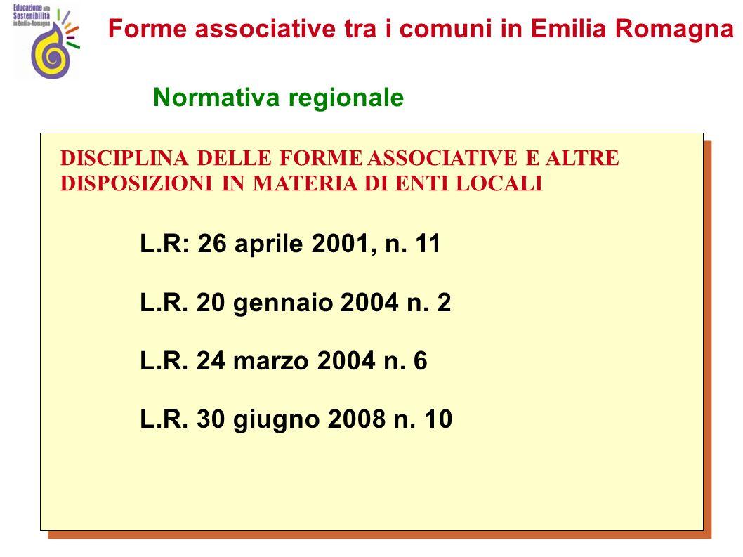 Forme associative tra i comuni in Emilia Romagna Normativa regionale L.R: 26 aprile 2001, n.
