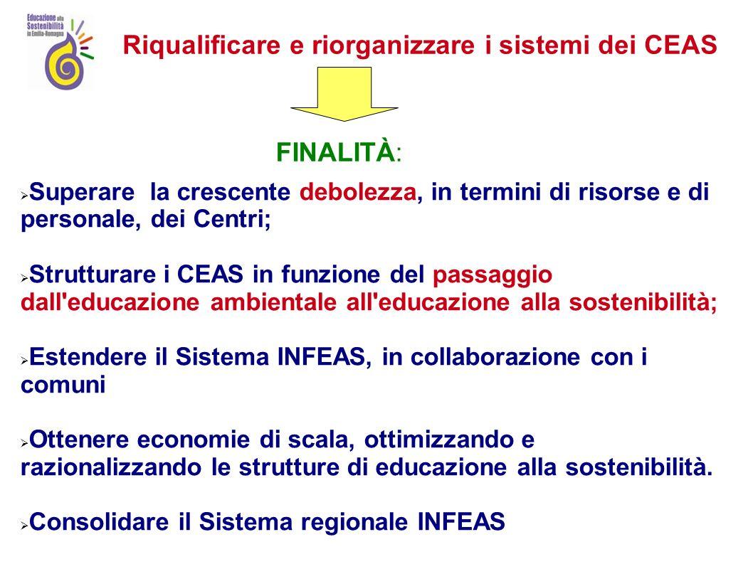Organizzazione del sistema INFEAS Art 2 L.R- 27/2009 Il sistema regionale di informazione e di educazione alla sostenibilità (sistema regionale INFEAS) unorganizzazione a rete che coinvolge una pluralità di soggetti pubblici e privati del territorio regionale con lobiettivo di promuovere il coordinamento, la qualificazione e la continuità delle attività di educazione alla sostenibilità.