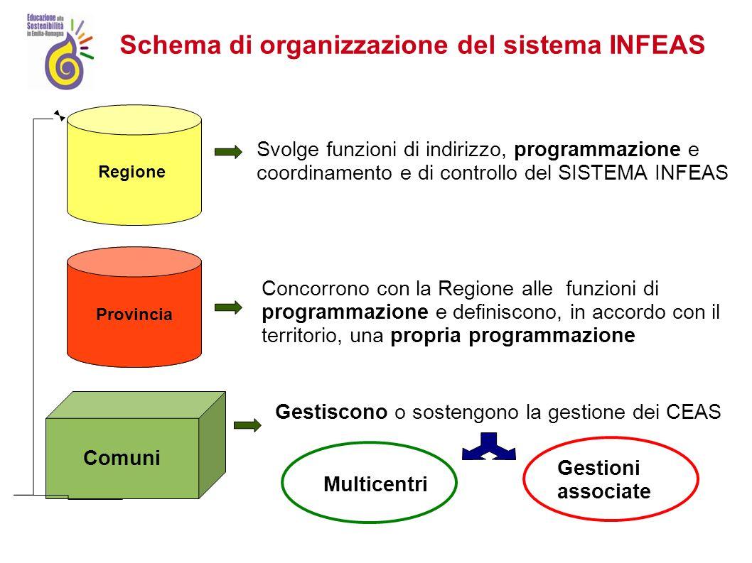 Regione Indirizza, Programma, Controlla a livello regionale Provincia Nuovo sistema INFEAS Coordina, programma, controlla a livello locale Multicentro Struttura di coordinamento Centro intercomunale.