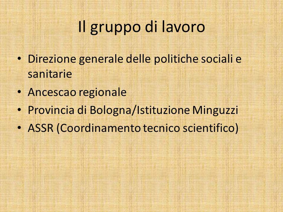 Il gruppo di lavoro Direzione generale delle politiche sociali e sanitarie Ancescao regionale Provincia di Bologna/Istituzione Minguzzi ASSR (Coordinamento tecnico scientifico)
