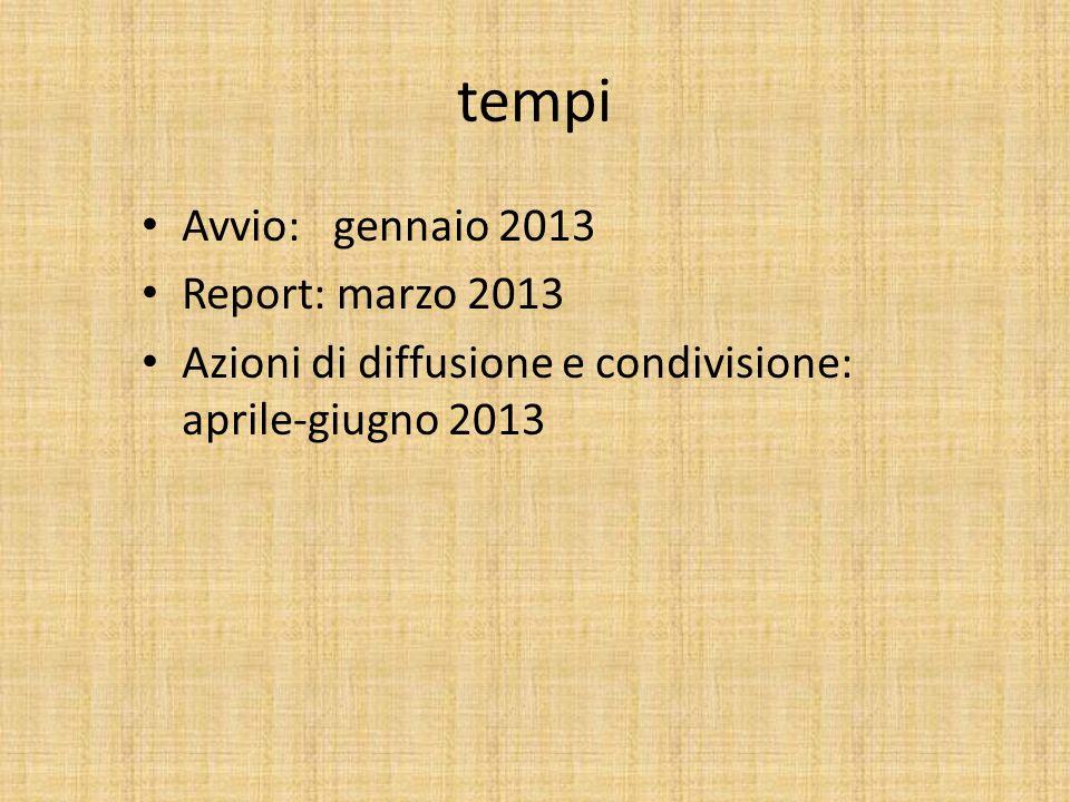 tempi Avvio: gennaio 2013 Report: marzo 2013 Azioni di diffusione e condivisione: aprile-giugno 2013