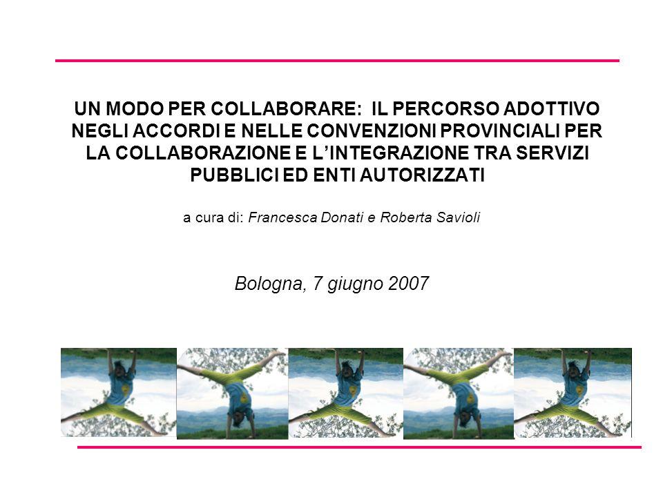 UN MODO PER COLLABORARE: IL PERCORSO ADOTTIVO NEGLI ACCORDI E NELLE CONVENZIONI PROVINCIALI PER LA COLLABORAZIONE E LINTEGRAZIONE TRA SERVIZI PUBBLICI ED ENTI AUTORIZZATI a cura di: Francesca Donati e Roberta Savioli Bologna, 7 giugno 2007