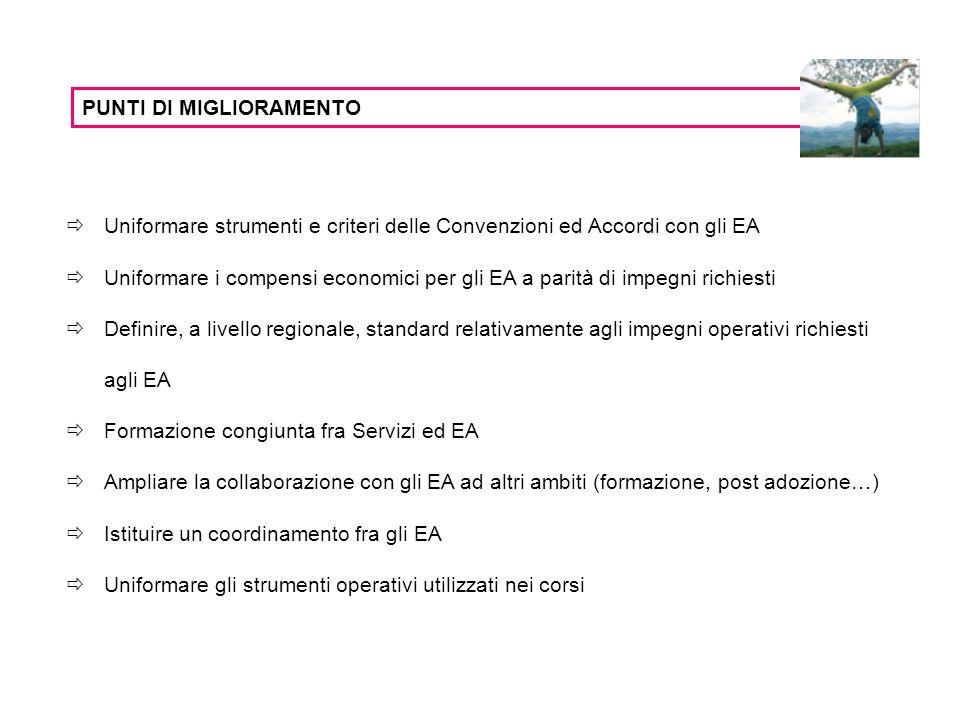 PUNTI DI MIGLIORAMENTO Uniformare strumenti e criteri delle Convenzioni ed Accordi con gli EA Uniformare i compensi economici per gli EA a parità di impegni richiesti Definire, a livello regionale, standard relativamente agli impegni operativi richiesti agli EA Formazione congiunta fra Servizi ed EA Ampliare la collaborazione con gli EA ad altri ambiti (formazione, post adozione…) Istituire un coordinamento fra gli EA Uniformare gli strumenti operativi utilizzati nei corsi