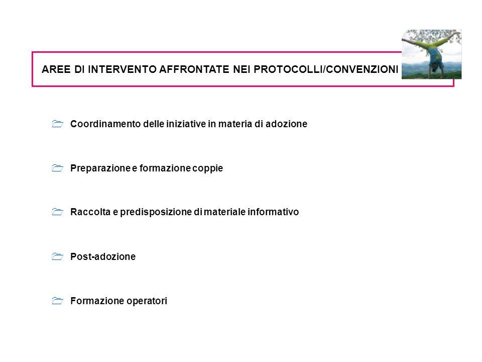 Coordinamento delle iniziative in materia di adozione Preparazione e formazione coppie Raccolta e predisposizione di materiale informativo AREE DI INTERVENTO AFFRONTATE NEI PROTOCOLLI/CONVENZIONI Post-adozione Formazione operatori
