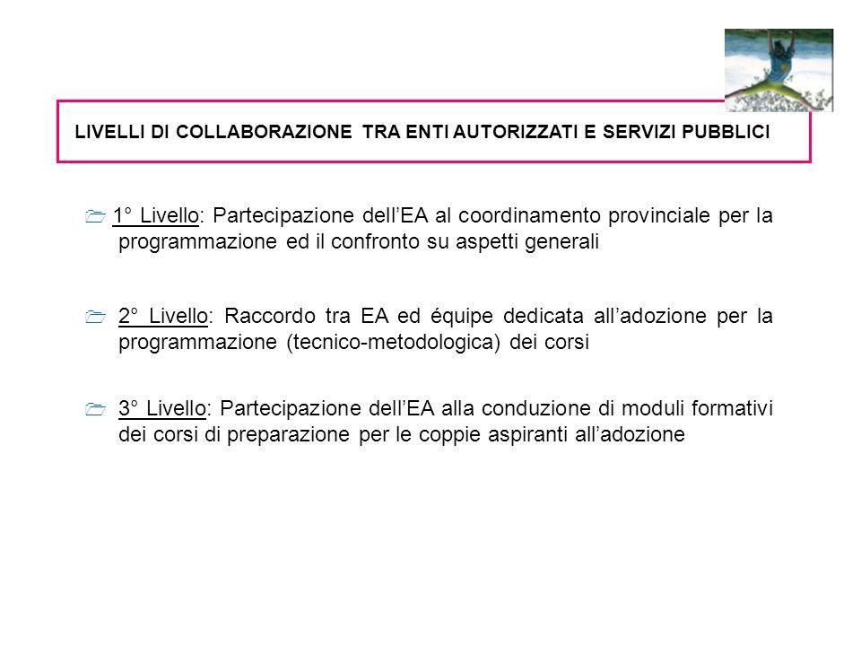 1° Livello: Partecipazione dellEA al coordinamento provinciale per la programmazione ed il confronto su aspetti generali Numero incontri annui Tematiche affrontate Continuità degli stessi esperti degli EA agli incontri provinciali