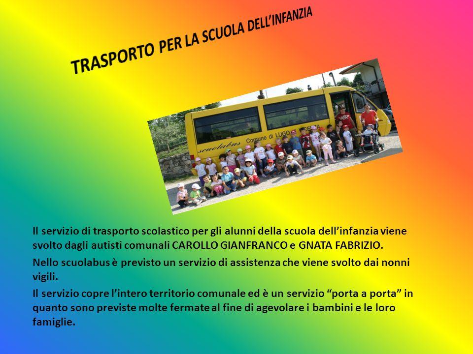 Il servizio di trasporto scolastico per gli alunni della scuola dellinfanzia viene svolto dagli autisti comunali CAROLLO GIANFRANCO e GNATA FABRIZIO.