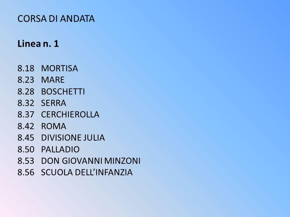 CORSA DI ANDATA Linea n. 1 8.18 MORTISA 8.23 MARE 8.28 BOSCHETTI 8.32 SERRA 8.37 CERCHIEROLLA 8.42 ROMA 8.45 DIVISIONE JULIA 8.50 PALLADIO 8.53 DON GI