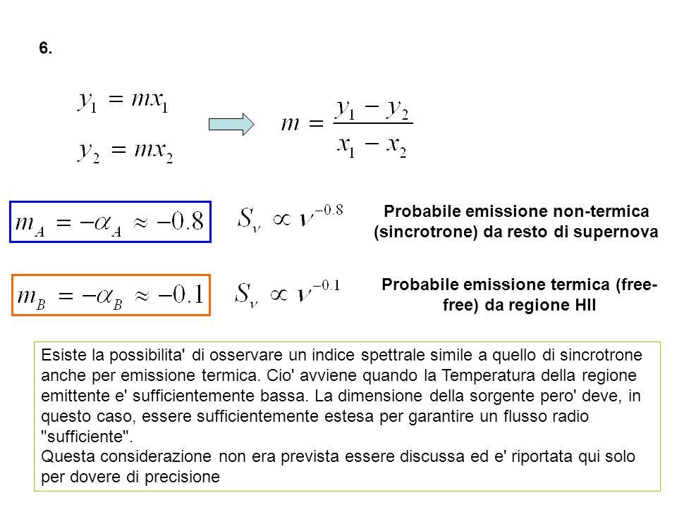 6. Esiste la possibilita' di osservare un indice spettrale simile a quello di sincrotrone anche per emissione termica. Cio' avviene quando la Temperat