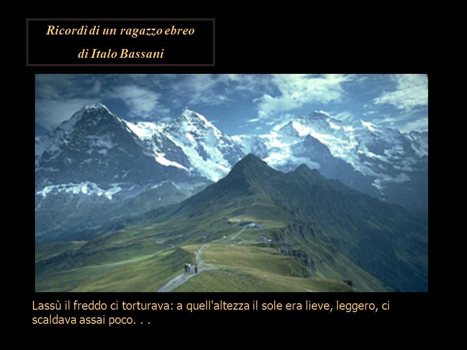 Ricordi di un ragazzo ebreo di Italo Bassani Lassù il freddo ci torturava: a quell'altezza il sole era lieve, leggero, ci scaldava assai poco...