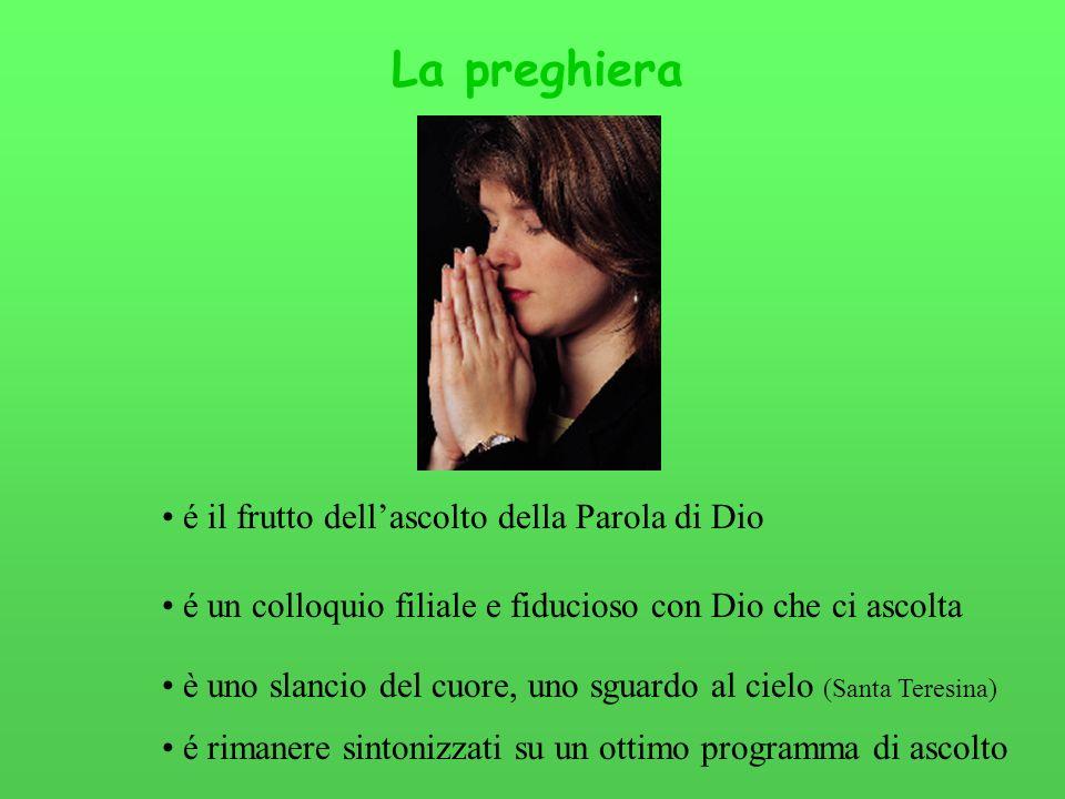La preghiera é il frutto dellascolto della Parola di Dio é un colloquio filiale e fiducioso con Dio che ci ascolta è uno slancio del cuore, uno sguard