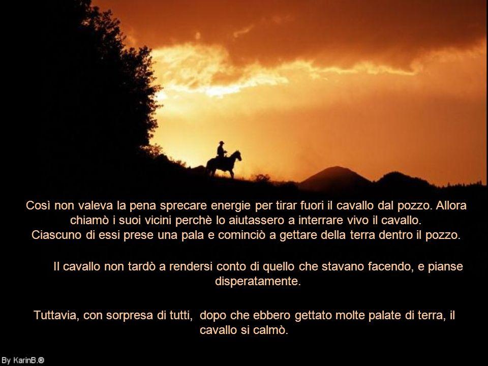 Un giorno, il cavallo di un contadino cadde in un pozzo. Non riportò alcuna ferita, ma non poteva uscire da lì con le sue proprie forze. Per molte ore