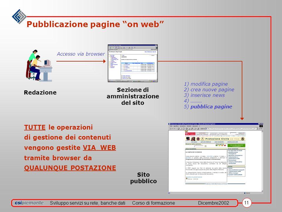Sviluppo servizi su rete, banche datiCorso di formazioneDicembre2002 11 Pubblicazione pagine on web Redazione Accesso via browser Sezione di amministr