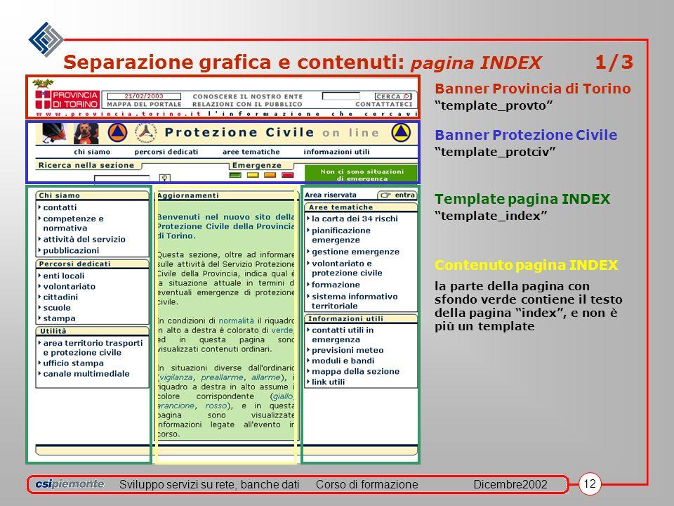 Sviluppo servizi su rete, banche datiCorso di formazioneDicembre2002 12 Separazione grafica e contenuti: pagina INDEX 1/3 Banner Provincia di Torino t