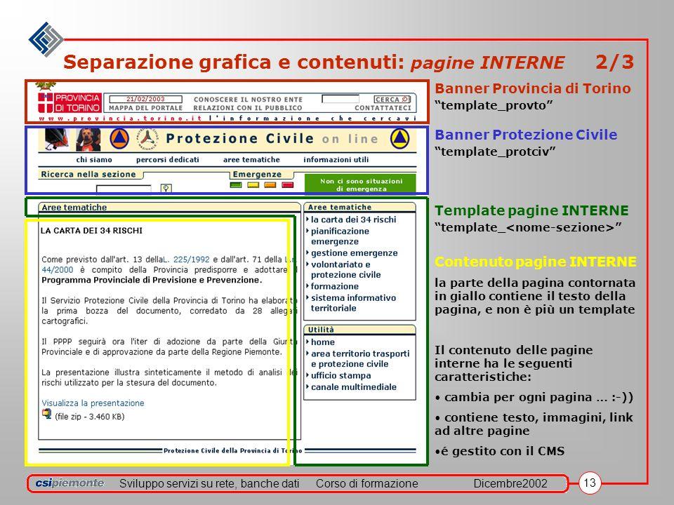 Sviluppo servizi su rete, banche datiCorso di formazioneDicembre2002 13 Separazione grafica e contenuti: pagine INTERNE 2/3 Banner Provincia di Torino