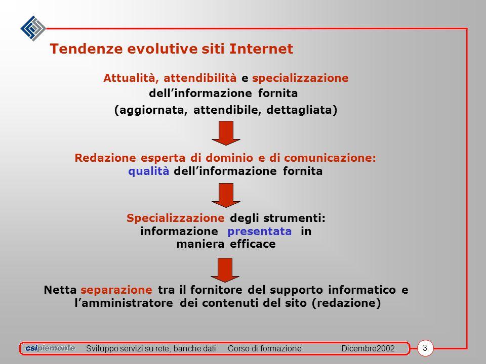 Sviluppo servizi su rete, banche datiCorso di formazioneDicembre2002 3 Tendenze evolutive siti Internet Attualità, attendibilità e specializzazione de