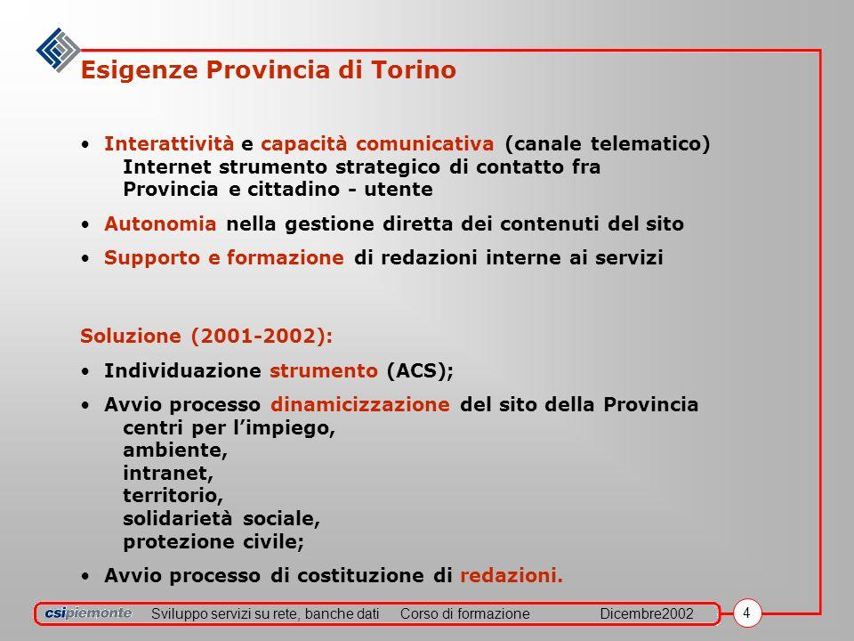 Sviluppo servizi su rete, banche datiCorso di formazioneDicembre2002 4 Esigenze Provincia di Torino Interattività e capacità comunicativa (canale tele