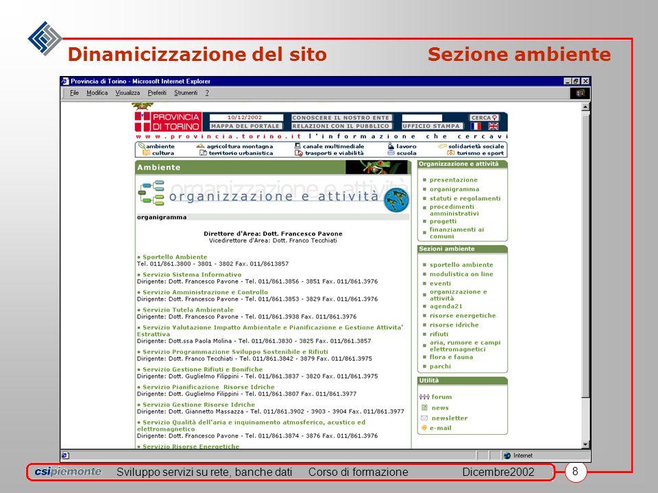 Sviluppo servizi su rete, banche datiCorso di formazioneDicembre2002 9 Dinamicizzazione del sito Sezione lavoro