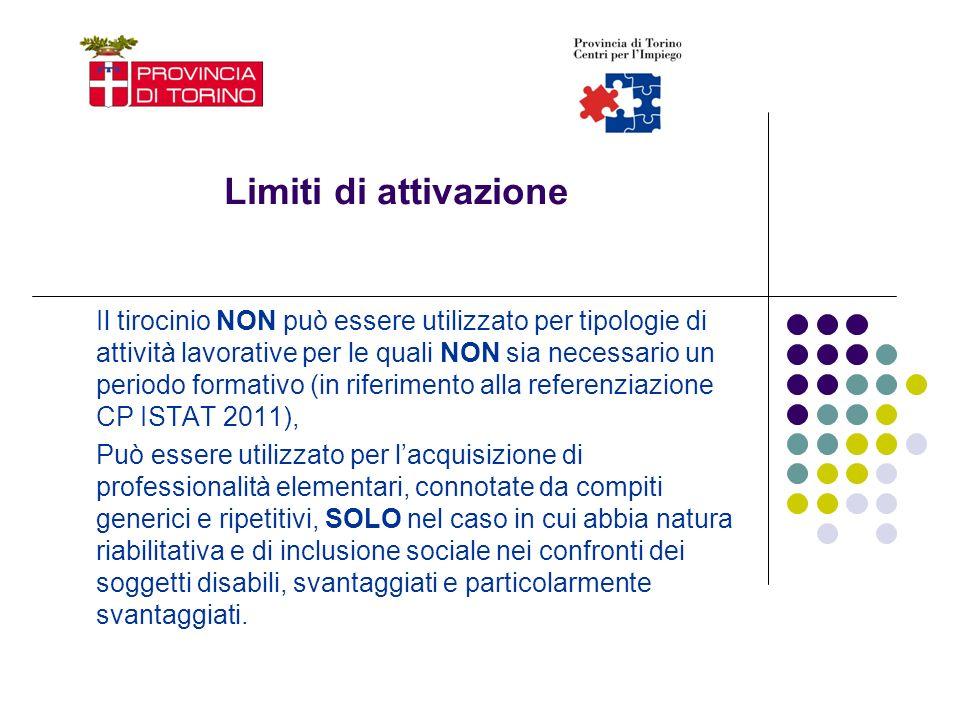 Limiti di attivazione Il tirocinio NON può essere utilizzato per tipologie di attività lavorative per le quali NON sia necessario un periodo formativo