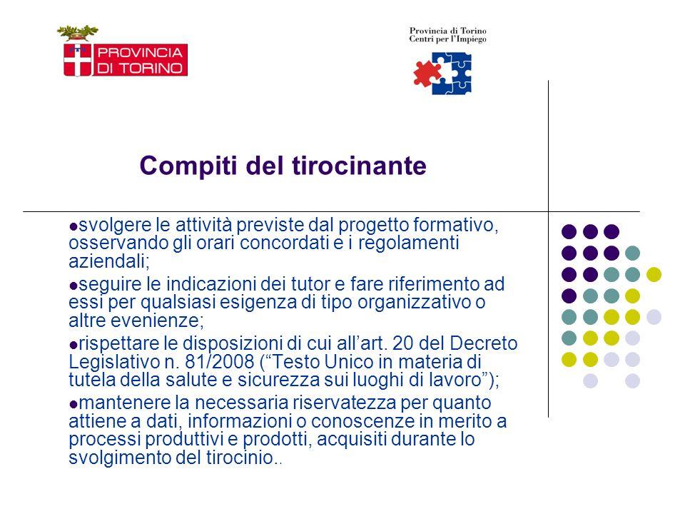 Compiti del tirocinante svolgere le attività previste dal progetto formativo, osservando gli orari concordati e i regolamenti aziendali; seguire le in