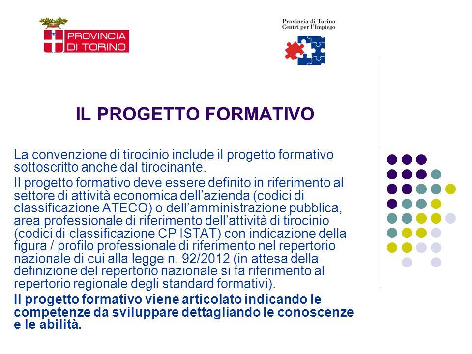 IL PROGETTO FORMATIVO La convenzione di tirocinio include il progetto formativo sottoscritto anche dal tirocinante. Il progetto formativo deve essere
