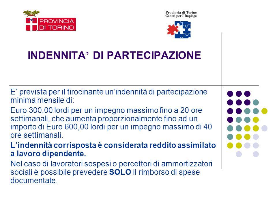 INDENNITA DI PARTECIPAZIONE E prevista per il tirocinante unindennità di partecipazione minima mensile di: Euro 300,00 lordi per un impegno massimo fi
