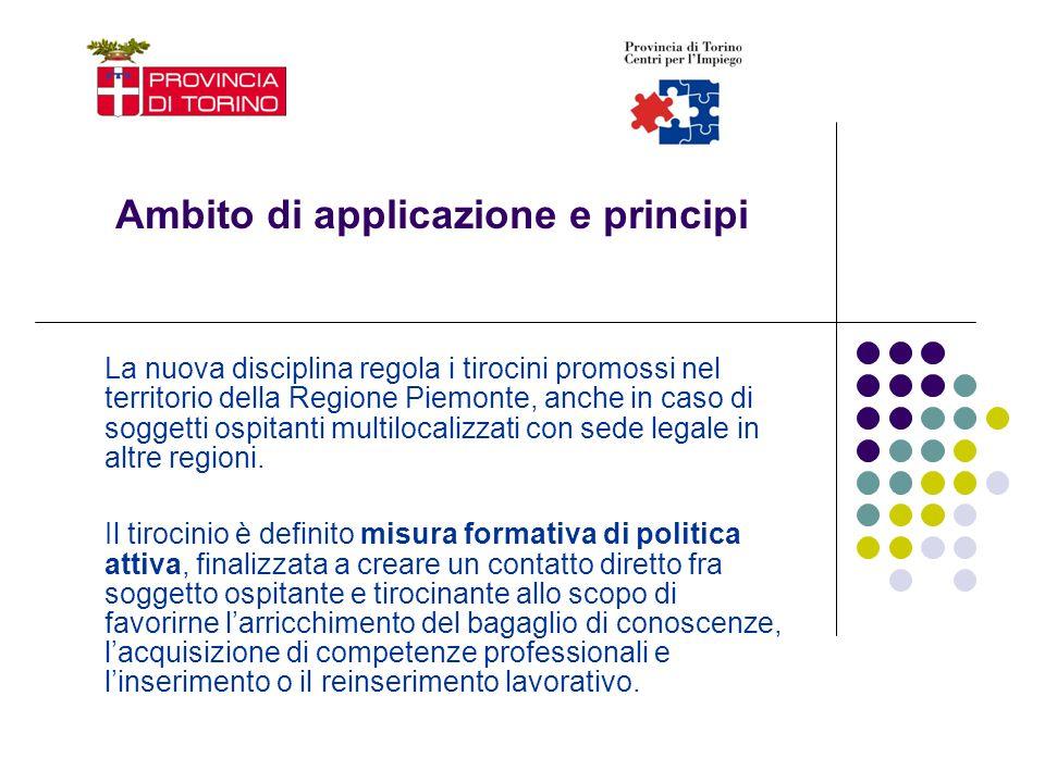 Ambito di applicazione e principi La nuova disciplina regola i tirocini promossi nel territorio della Regione Piemonte, anche in caso di soggetti ospi