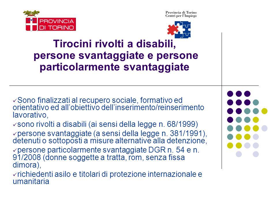 Tirocini rivolti a disabili, persone svantaggiate e persone particolarmente svantaggiate Sono finalizzati al recupero sociale, formativo ed orientativ