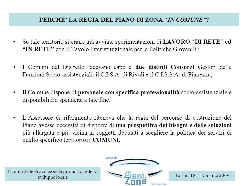 PERCHE LA REGIA DEL PIANO DI ZONA IN COMUNE.