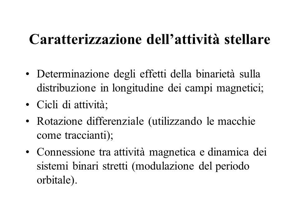 Caratterizzazione dellattività stellare Determinazione degli effetti della binarietà sulla distribuzione in longitudine dei campi magnetici; Cicli di attività; Rotazione differenziale (utilizzando le macchie come traccianti); Connessione tra attività magnetica e dinamica dei sistemi binari stretti (modulazione del periodo orbitale).