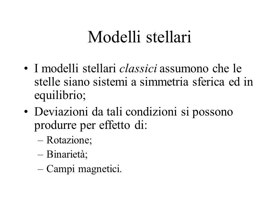 Modelli stellari I modelli stellari classici assumono che le stelle siano sistemi a simmetria sferica ed in equilibrio; Deviazioni da tali condizioni