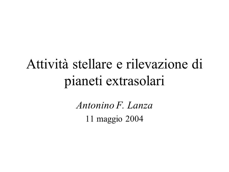 Attività stellare e rilevazione di pianeti extrasolari Antonino F. Lanza 11 maggio 2004