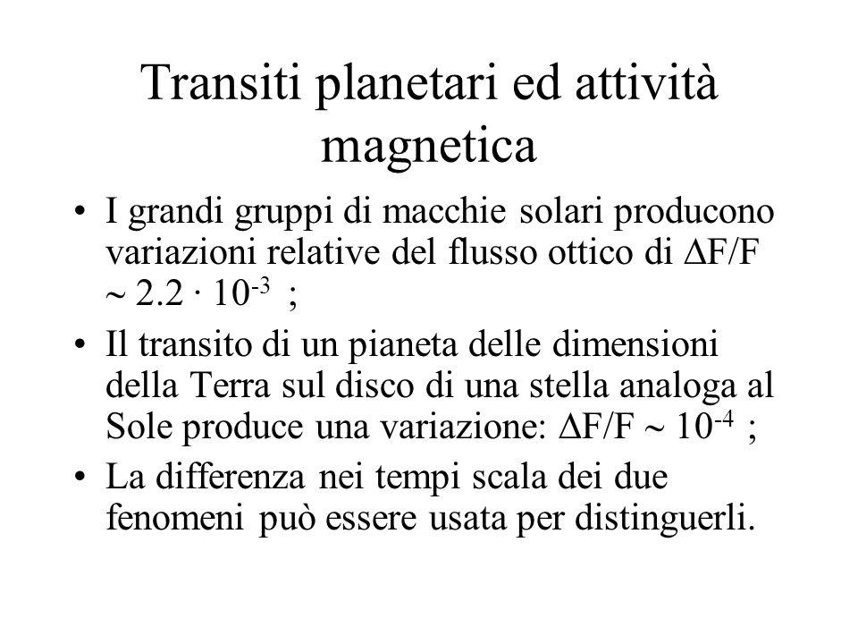 Transiti planetari ed attività magnetica I grandi gruppi di macchie solari producono variazioni relative del flusso ottico di F/F 2.2 · 10 -3 ; Il transito di un pianeta delle dimensioni della Terra sul disco di una stella analoga al Sole produce una variazione: F/F 10 -4 ; La differenza nei tempi scala dei due fenomeni può essere usata per distinguerli.