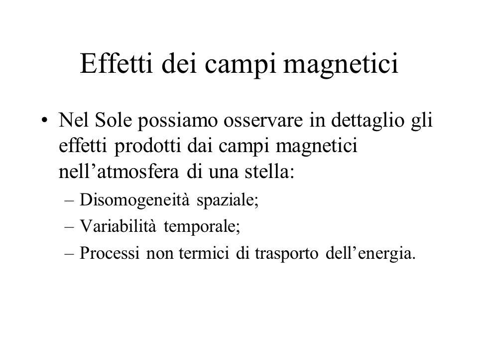 Effetti dei campi magnetici Nel Sole possiamo osservare in dettaglio gli effetti prodotti dai campi magnetici nellatmosfera di una stella: –Disomogeneità spaziale; –Variabilità temporale; –Processi non termici di trasporto dellenergia.