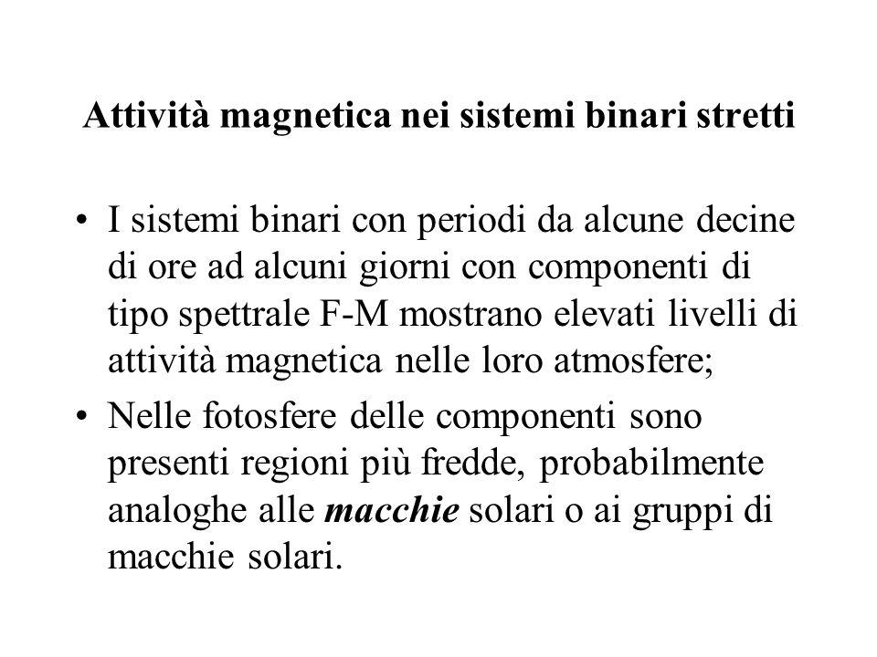 Attività magnetica nei sistemi binari stretti I sistemi binari con periodi da alcune decine di ore ad alcuni giorni con componenti di tipo spettrale F
