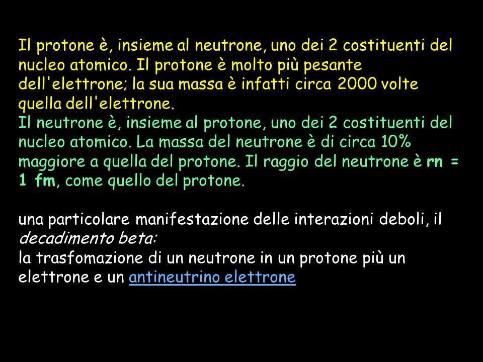 Il protone è, insieme al neutrone, uno dei 2 costituenti del nucleo atomico. Il protone è molto più pesante dell'elettrone; la sua massa è infatti cir