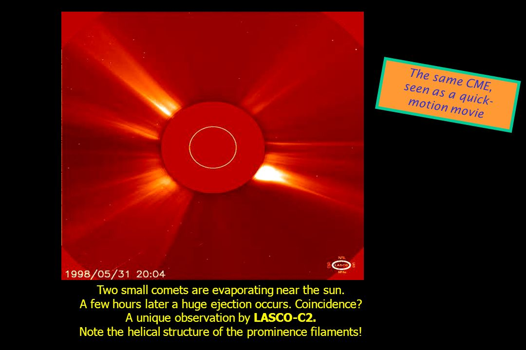 Two small comets are evaporating near the sun. A few hours later a huge ejection occurs. Coincidence? A unique observation by LASCO-C2. Note the helic