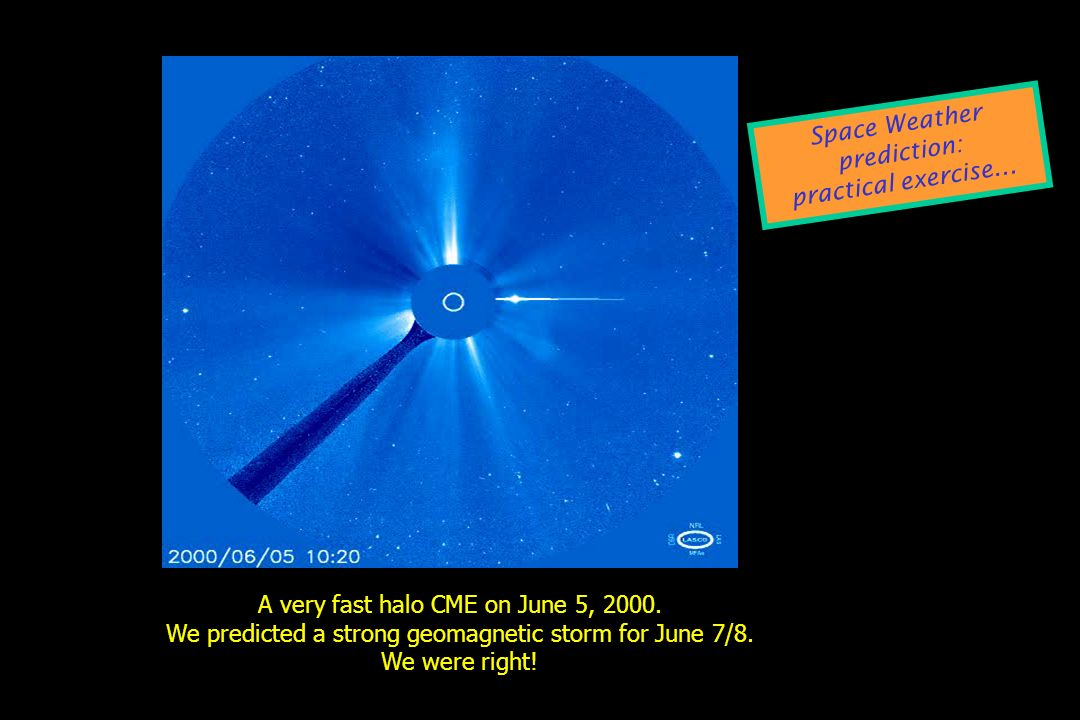 A very fast halo CME on June 5, 2000. We predicted a strong geomagnetic storm for June 7/8. We were right! Space Weather prediction: practical exercis