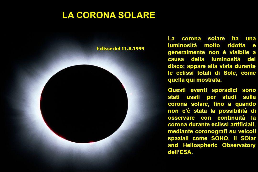Eclisse del 11.8.1999 La corona solare ha una luminosità molto ridotta e generalmente non è visibile a causa della luminosità del disco; appare alla vista durante le eclissi totali di Sole, come quella qui mostrata.