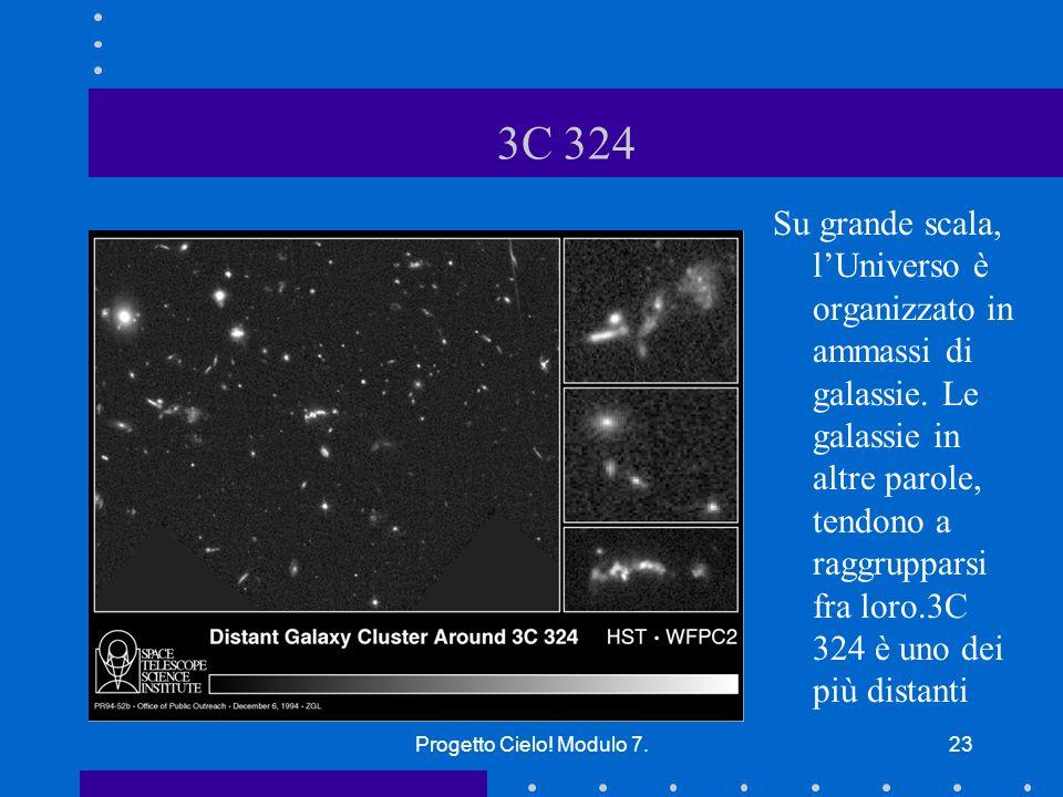Progetto Cielo.Modulo 7.23 3C 324 Su grande scala, lUniverso è organizzato in ammassi di galassie.