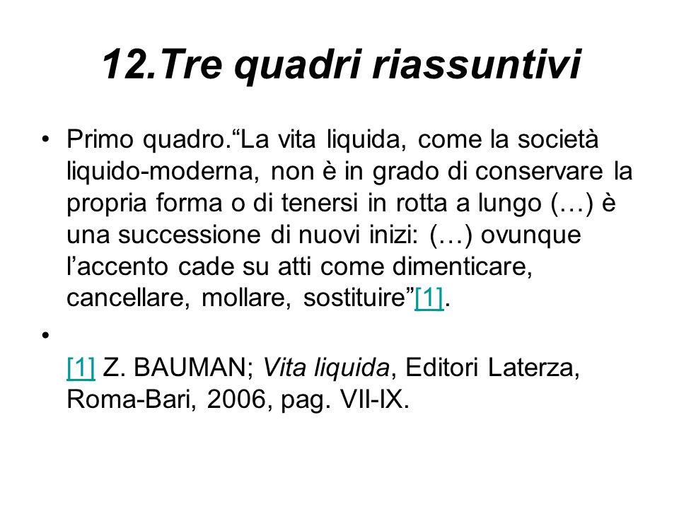 12.Tre quadri riassuntivi Primo quadro.La vita liquida, come la società liquido-moderna, non è in grado di conservare la propria forma o di tenersi in
