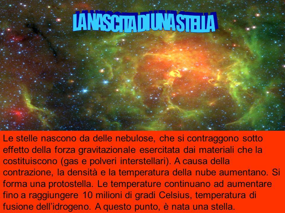 Le stelle nascono da delle nebulose, che si contraggono sotto effetto della forza gravitazionale esercitata dai materiali che la costituiscono (gas e polveri interstellari).